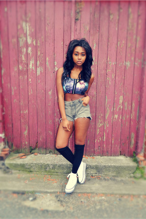 crop galaxy Ebay top - diy Diesel shorts - Urban Outfitters sneakers