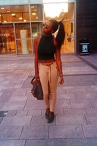 River Island bag - riding pants Zara pants - cropped polo Topshop top