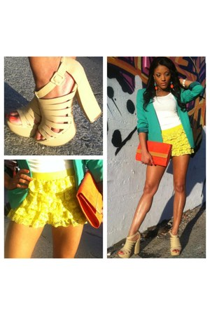 green fited foreign exchange blazer - orange clutch H&M bag - Forever 21 shorts