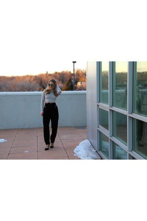 high-waisted escada pants - crop top asos top - black BCBG heels