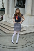 vintage scarf - vinage belt - italian designer skirt - stockings - ferragamo sho