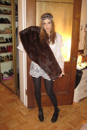 H&M accessories - Wolford accessories - vintage jacket - vintage dress - forever