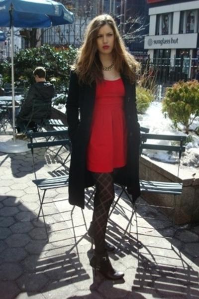 forever 21 dress - random coat - HUE accessories - vintage accessories