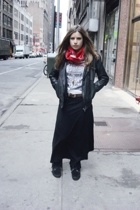 scarf - vintage jacket - Karl Lagerfeld t-shirt - - Minnetonka boots - forever 2
