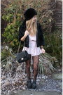 Light-pink-thrifted-dress-black-h-m-hat-black-h-m-jacket-black-marc-b-bag