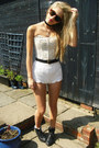 White-h-m-shorts-thrifted-boots-h-m-sunglasses-corset-primark-bodysuit