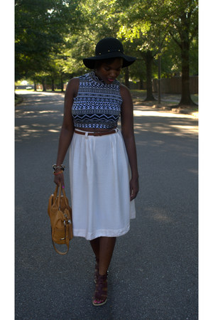 shirt - black wool hat - cream midi Forever 21 skirt