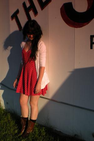 Target sweater - vintage dress - My Boyfriends socks - vintage boots
