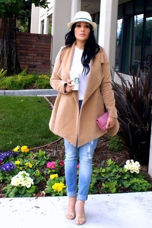camel romwe jacket - light blue TJ Maxx jeans - eggshell Target hat