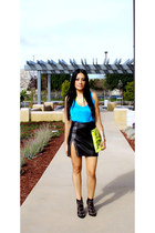 black Forever 21 boots - yellow OASAP bag - blue Forever 21 top