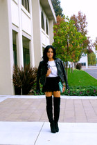 black Charlotte Russe boots - black faux leather Forever 21 jacket