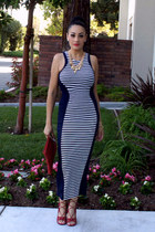 red Goodwill bag - navy stripes maxi poof apparel dress - red JustFab heels