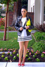 White-forever-21-dress-black-6ks-jacket-yellow-forever-21-bag