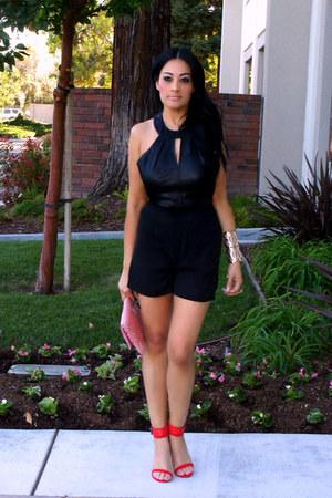 black romwe romper - bubble gum TJ Maxx bag - red Zara heels