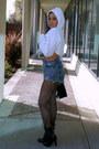 Black-forever-21-boots-blue-romwe-shorts-white-cropped-cakehoe-sweatshirt