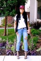 black Shoedazzle heels - sky blue Express jeans - hot pink romwe hat