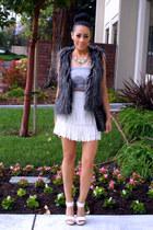charcoal gray Forever 21 vest - eggshell Forever 21 skirt