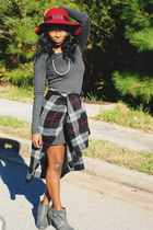 plaid cape - heather gray wool H&M dress - crimson fedora Lucky Brand hat