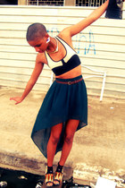teal fluid Skirt skirt - short H&M top - ethnic Aldo heels