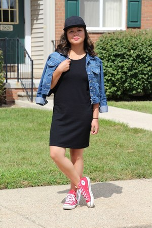 black thrifted dress - red chuck taylors Converse shoes - black thrifted hat