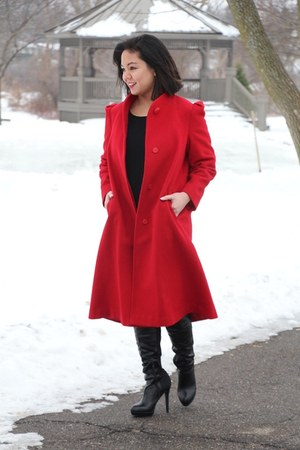 red wool thrifted vintage coat - black knee high Charlotte Russe boots