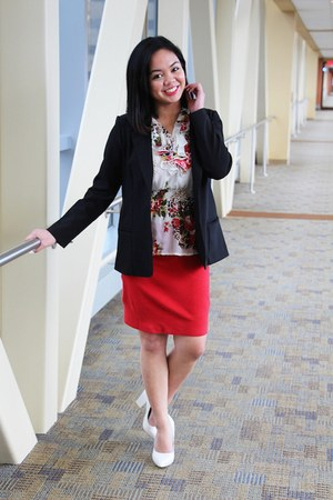 black blazer - ivory floral top - red cotton skirt - white Forever 21 heels