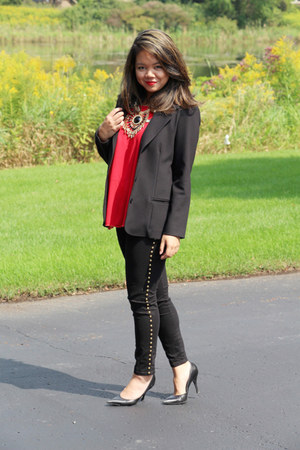 black thrifted blazer - red thrifted top - black studded Forever 21 pants