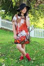 Red-forever-21-boots-carrot-orange-walgreens-dress