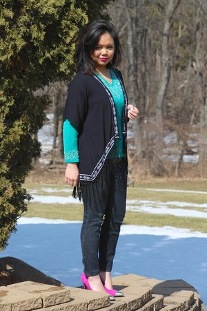 navy Forever 21 jeans - teal blouse - navy fringe kimono TJ Maxx cardigan