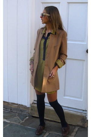 Aldo loafers - Ruche dress - H&M blazer - BCBG sunglasses - asos stockings