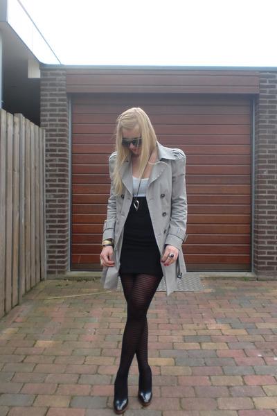 silver Zara coat - white H&M shirt - black DIY skirt - black unknown shoes - bla