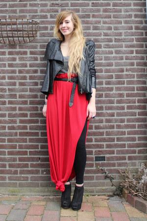 strong asos jacket - tee Enza Costa shirt - diy DIY skirt