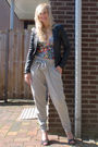Black-oasis-jacket-blue-h-m-the-garden-collection-top-silver-vila-pants