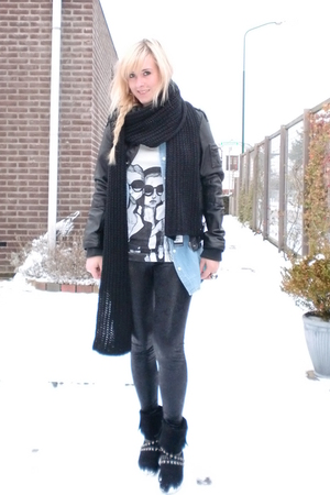 black Only jacket - blue H&amp;M blouse - black lemon leggings - white Danny Roberts