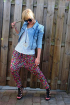 blue H&M FAA jacket - white H&M shirt - pink H&M Garden Chic pants - black Zara