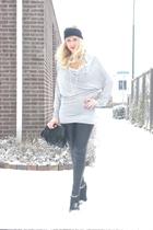 silver phard top - black Super Trash leggings - black H&M shoes - black asos acc