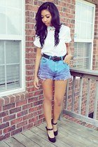 purple DIY shorts shorts - white Cherokee top - black mary heels