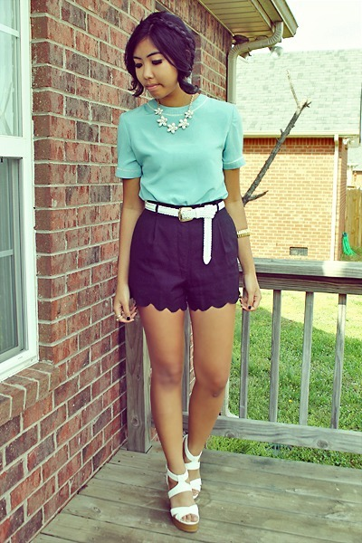 black scallop shorts shorts - aquamarine shirt