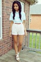 light pink shorts shorts - light blue stripes shirt - brown belt belt