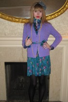 purple Ralph Lauren sweater - blue Anna Sui dress - blue Anna Sui belt - yellow