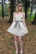 white Betsey Johnson blouse - white Ralph Lauren skirt - blue vintage scarf - bl