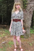black Anna Sui dress - brown vintage chetta b belt - pink vintage necklace - whi