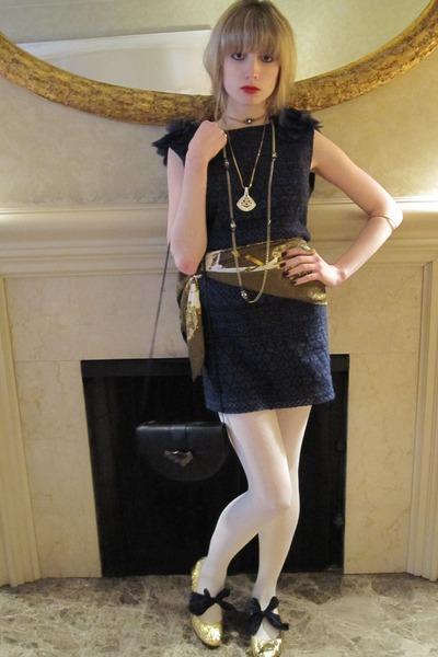 blue Piazza Sempione dress - gold vintage necklace - gold vintage necklace - gol