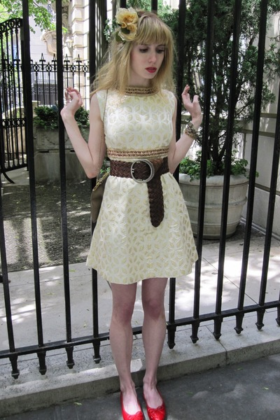 white Vintage Vogue Paris Original dress - brown belt - gold vintage bracelet -