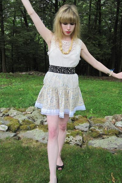 white 31 phillip lim blouse - yellow Vintage Albert Nipon skirt - black belt - b
