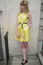 yellow Marc by Marc Jacobs dress - black Judith Jack belt - beige vintage hat -