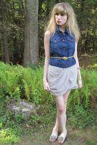 blue Levis vest - gray 31 phillip lim skirt - gold vintage belt - gold vintage f