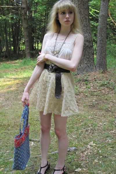 beige vintage blouse - beige Jill Stuart skirt - brown banana republic belt - go