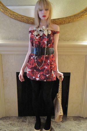red Piazza Sempione dress - brown Theory belt - white Vintage costume necklace -