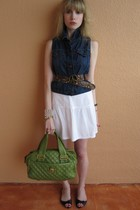 blue Levis vest - white Hanes top - white Shoshanna skirt - brown Lake Shore Dri